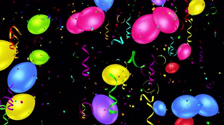 balonlar : Holiday seamless colorful flying balloons and shining confettis with Alpha channel. Looped 4K motion graphic. Stok Video