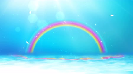 faerie : Bright background with sunshine, blue sky, rainbow and sea. Stock Footage