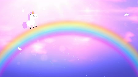 efsane : Cute cartoon white unicorn with pink mane goes on rainbow on fabulous pink sky. Looped 4K motion graphic.