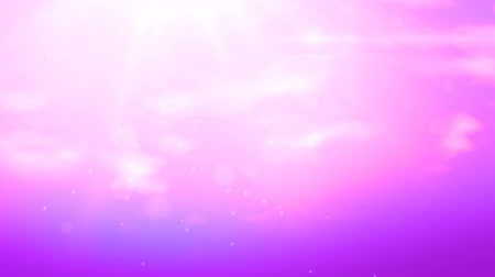 faerie : Fabulous pink background, magic sky with sunlights and running white clouds. Looped 4K motion graphic. Stock Footage