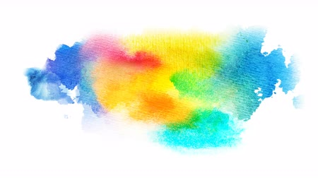 yellow ink : Beautiful multicolored, colorful spot appears on a white background. Bright cyan, yellow, red and orange paints spreads on paper forming a blot. Stock Footage