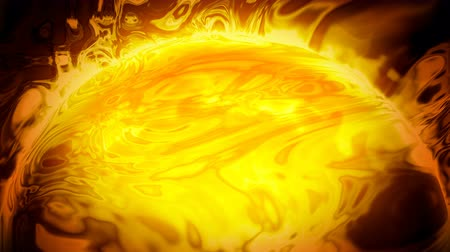 Sun surface with solar flares and liquid plasma. Abstract space fantastic background. Looped 4K motion graphic.