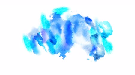 desenhada à mão : Beautiful blue spot appears on a white background. Cyan and azure paints spreads on paper forming a blot. 4K