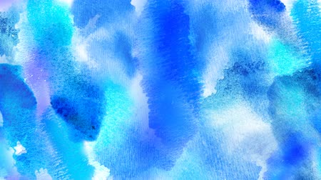 Beautiful blue spot appears on a white background. Cyan and azure paints spreads on paper forming a blot. 4K