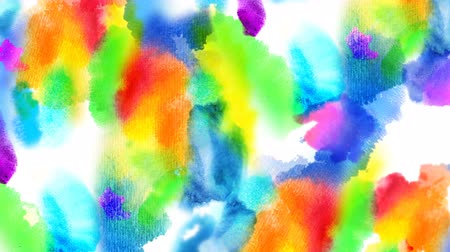 Beautiful colorful spots appear on a white background. 4K motion graphic.