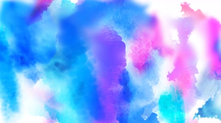 Beautiful blue spot appears on a white background. Cyan and pink paints spreads on paper forming a blot. Stock mozgókép