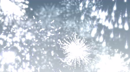 Silver Fireworks in New Year holiday or festive day on abstract background . 4K motion graphic.