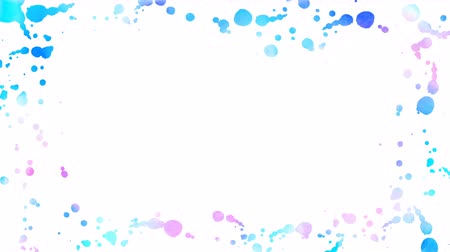 Abstract spots and blots appear on a white background. Blue, and pink paints spreads forming frame. 4K motion graphic.