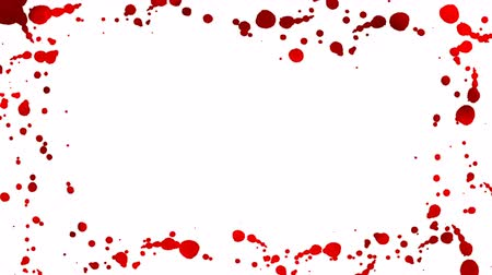 splattered : Red blood drops appear on a white background forming a frame. 4K motion graphic.