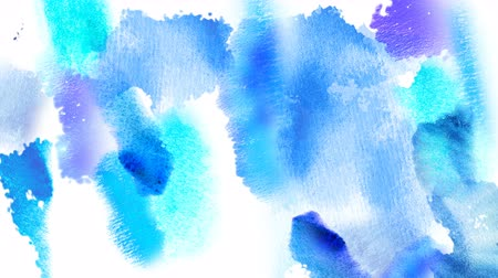 splattered : Beautiful light blue spots appear on a white background. Cyan and blue paints spread on paper forming a background. Stock Footage