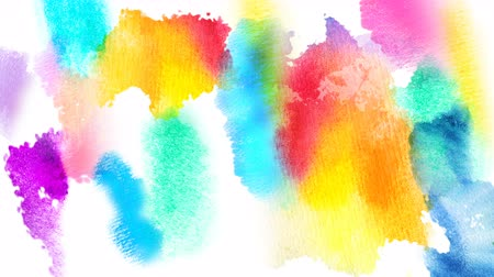 yellow ink : Beautiful multicolor spots appear on a white background. Pink, green, blue paints spread on paper forming a background. Stock Footage