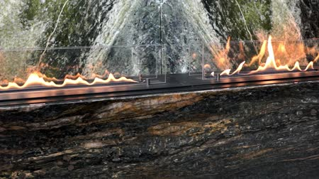 hearth : Slow motion modern gas fireplace burning