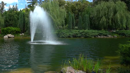 manmade : Fountain spraying streams of water into air