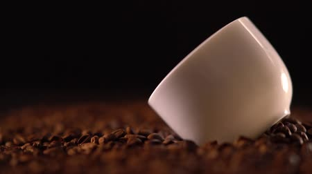 emtia : Close up view on all sides of small coffee cup Stok Video