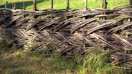 corral : Old rustic wooden woven fence