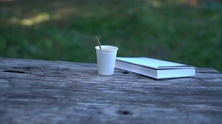 sede : Takeaway coffee and book on old wooden table