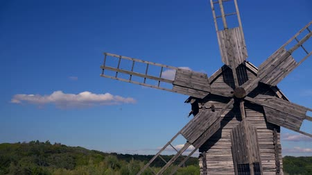 rotational : Detail of an old wooden windmill