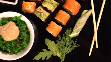 specialities : fresh sushi rolls with seaweed and soy sauce Stock Footage