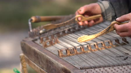 busking : Musician playing a trapezoidal hammered dulcimer Stock Footage