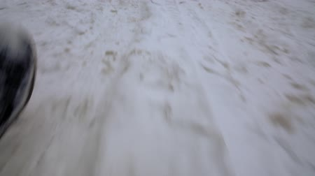srážky : Ground after snowfall in close-up while walking