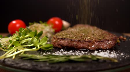 speciality : Thick juicy rump steak with salad trimmings Stock Footage