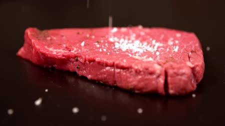 rump : Chef preparing raw beef steak for cooking Stock Footage