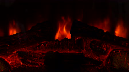 charred : Burning fire in a hearth with orange flames Stock Footage