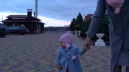 babysitter : Woman walking a cute little baby girl in winter