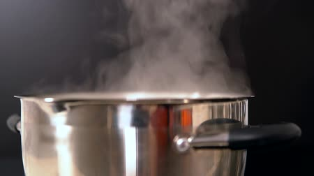 utensílio : Close up on steam rising from a pot on the stove