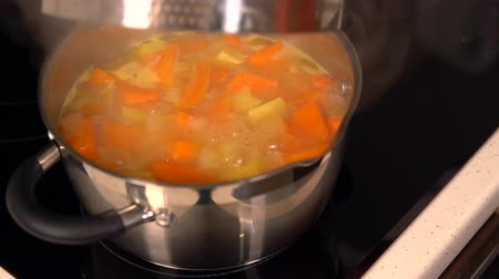 caldo : Diced fresh pumpkin bubbling in a pot Vídeos