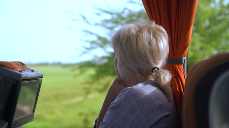 engrossed : Zoom in on a passenger in a coach Stock Footage