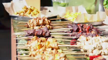 Large variety of grilled meat kebabs