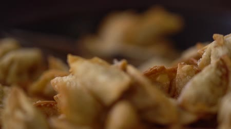 Shift focus texture of golden fried pastries
