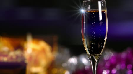 Sparkling bubbles in a glass of champagne
