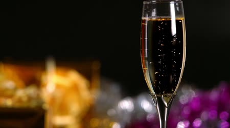 Elegant glass of romantic champagne with bubbles