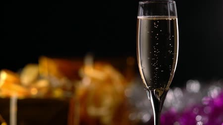 Romantic flute of champagne on a party background