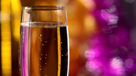 Flute of sparkling champagne for a celebration Wideo