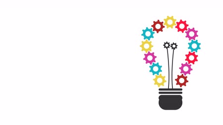 Light Bulb which has of colorful gears beautiful.4K resolution motion graphic Stok Video