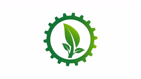 Gear and leaf logo in the circle with.4K resolution motion graphic