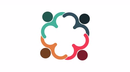 People logo. Group teamwork symbol of four persons  in a circle.4K resolution motion graphic