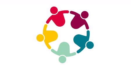 People logo. Group teamwork symbol of five persons in a circle.4K resolution motion graphic Stok Video