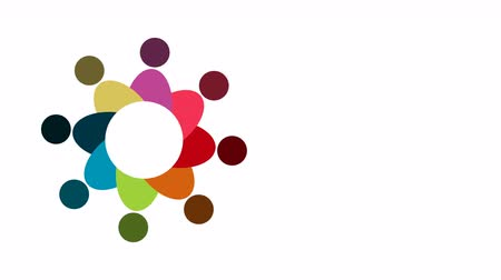 People. Group teamwork symbol of eight persons  in a circle.4K resolution motion graphic
