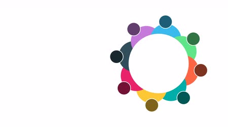 osm : People. Group teamwork symbol of eight persons  in a circle.4K resolution motion graphic