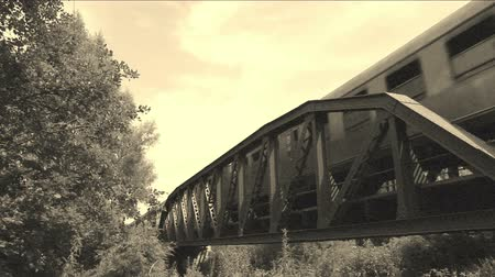 garça real : Old train is driving over a bridge, old film Stock Footage
