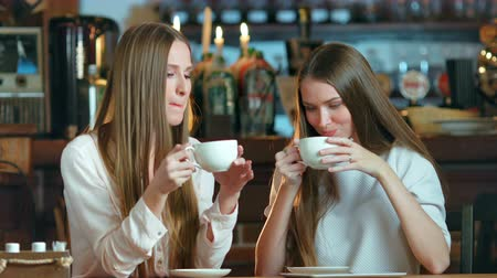 socializing : Two young female friends meeting in cafe Stock Footage