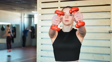 штанга : Fitness girl lifting dumbbell in the gym