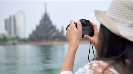 mianmar : Tourist woman taking photo picture of the asian temple