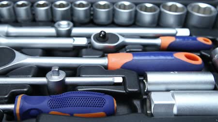 toolbox : Set of tool in suitcase Stock Footage