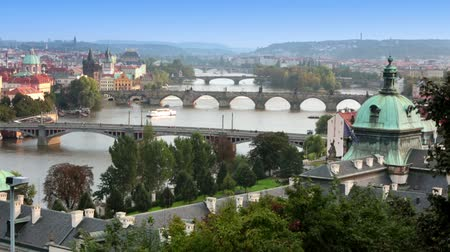 prague bridge : Prague Bridges, the Czech Republic Stock Footage