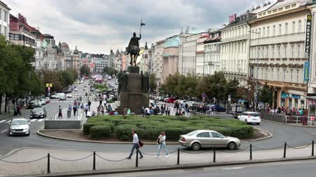 основной : View from steps of the national museum on Wenceslas Square Vaclavske namesti Prague, Czech Republic